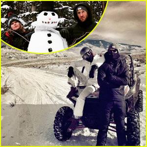 Taylor Swift & Calvin Harris Cruise Through Snow on Christmas Eve