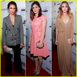 Nina Dobrev Rocks Menswear Look at Marie Claire Image Maker Awards