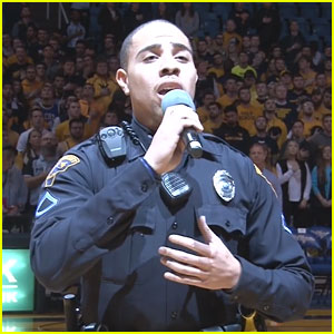 Police Officer Fills in For National Anthem Singer, Wows Crowd!