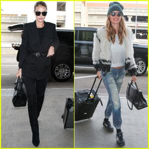 Rosie Huntington-Whiteley & Behati Prinsloo Jet Off to Paris