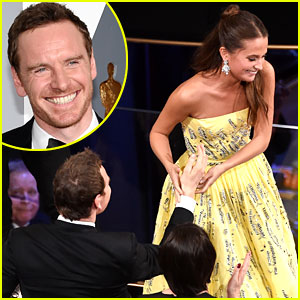 Alicia Vikander & Michael Fassbender Kissed After Her Oscar Win (Video)