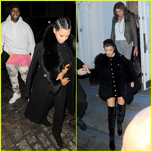 Kim Kardashian & Kanye West Meet Up with Her Family in NYC