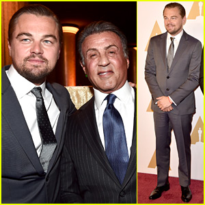 Leonardo DiCaprio Meets Up with Sylvester Stallone at Oscar Nominees 2016 Luncheon