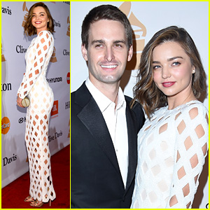 Miranda Kerr & Evan Spiegel Make Their Red Carpet Debut at Clive Davis' Grammys 2016 Gala!