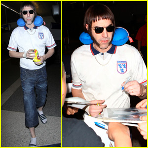 Sacha Baron Cohen Dons 'Grimsby' Costume at LAX