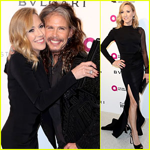 Sheryl Crow & Steven Tyler Hug it Out at Elton John's Oscar Party