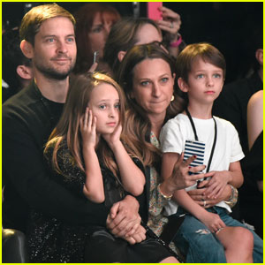 Tobey Maguire & Wife Jennifer Meyer Bring Kids Ruby & Otis to Saint Laurent Show at the Palladium
