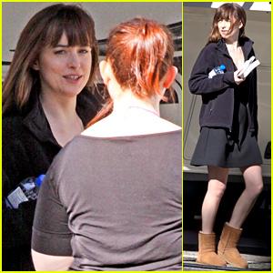 Dakota Johnson Spends Her Saturday Filming 'Fifty Shades'!