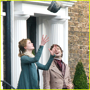 Douglas Booth & Elle Fanning Get Playful For 'A Storm In The Stars' Filming