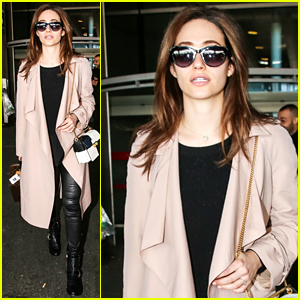 Emmy Rossum Jets Into Paris Ahead of Fashion Week!