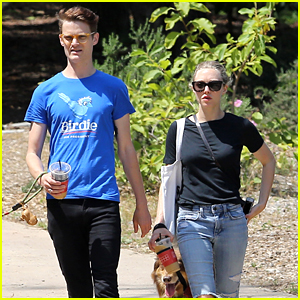 Amanda Seyfried Takes Finn for a Walk with a Friend