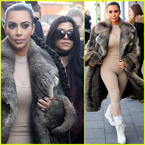 Kim Kardashian Wears Form-Fitting Bodysuit in Iceland