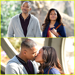 Will Smith & Naomie Harris Kiss While Filming 'Collateral Beauty'