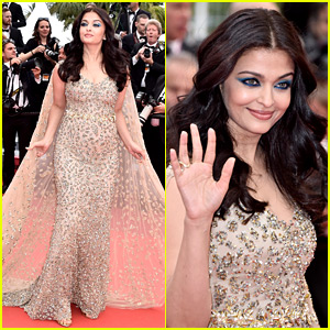Aishwarya Rai Stuns in Golden Gown at Cannes Premiere