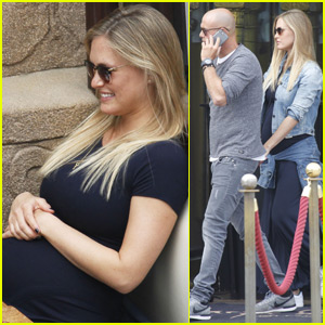 Pregnant Bar Refaeli & Hubby Adi Ezra Vacation in Barcelona