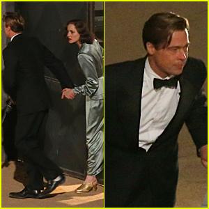 Brad Pitt & Marion Cotillard Go Formal for 'Allied' Night Shoot
