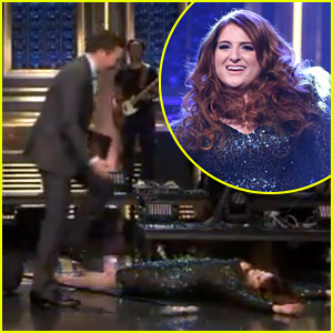 Meghan Trainor Falls on 'Fallon' - Watch the Video Now!