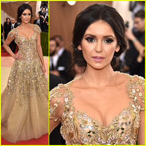 Nina Dobrev Wears Whimsical Gold Gown to Met Gala 2016