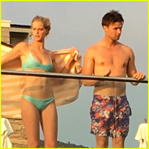 Patrick Schwarzenegger Goes Shirtless for Memorial Day with Girlfriend Abby Champion