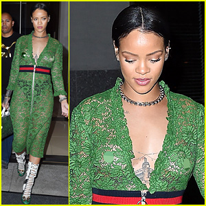 Rihanna Wears Sheer Dress with No Bra in NYC