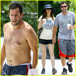 Adam Sandler Goes Shirtless for Miami Trip with Wife Jackie