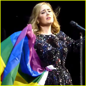 Adele Wears Rainbow Flag While Singing For Orlando (Video)