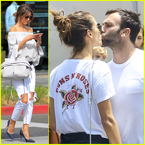 Alessandra Ambrosio Shares a Smooch With Jamie Mazur
