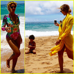 Beyonce Sports Fun Swimsuit for Family Vacation in Hawaii!