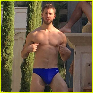 Calvin Harris Wears Just a Speedo in New Photo with Friends!
