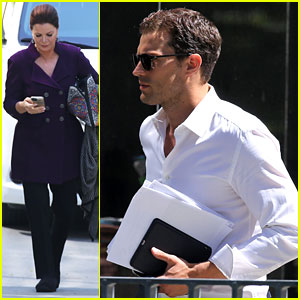 Jamie Dornan Heads to Set Alongside Marcia Gay Harden