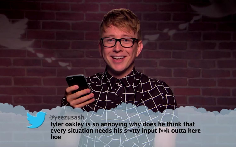 Tyler Oakley More Social Stars Read Mean Tweets Video Grace