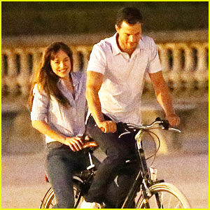 Jamie Dornan & Dakota Johnson Film 'Fifty Shades' on Bicycles!
