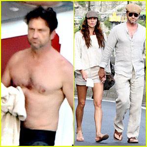 Gerard Butler & Morgan Brown Show Off Hot Bods in Italy!