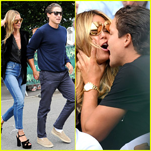 Heidi Klum & Vito Schnabel Share Awkward Kiss at Wimbledon
