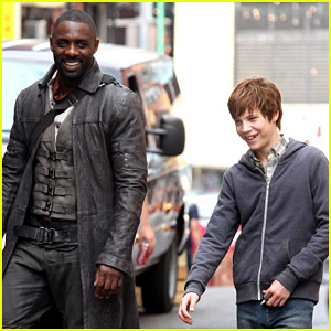 Idris Elba Films 'Dark Tower' Scenes with Tom Taylor as Jake!
