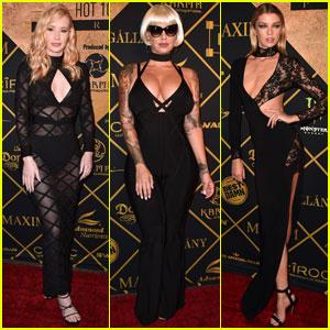 Iggy Azalea Sports Sheer Black Dress for Maxim Hot 100 Party