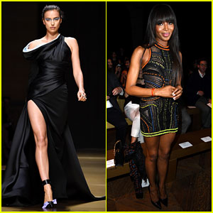 Irina Shayk Walks for Versace, Naomi Campbell Sits Front Row