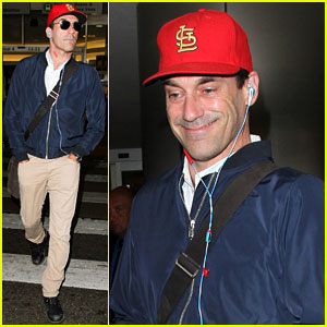 Jon Hamm Catches a Flight at LAX Airport