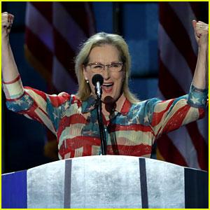 Meryl Streep Wears American Flag Outfit for DNC Speech! (Video)