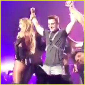 Britney Spears Brings Colton Haynes on Stage, Praises His Ass (Video)