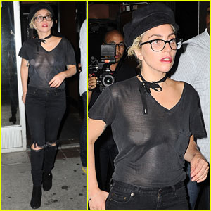 Lady Gaga Goes Braless in Sheer Shirt While Leaving the Studio