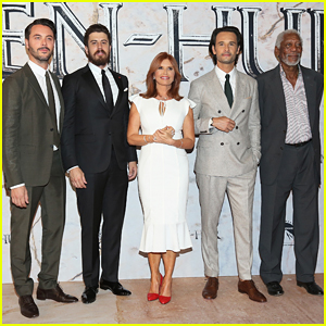 Morgan Freeman Joins Jack Huston & Rodrigo Santoro At 'Ben-Hur' Mexico City Premiere!