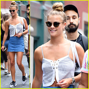 Nina Agdal Has a Beer on the Beach With Her Besties