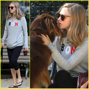 Amanda Seyfried Enjoys a Stroll Through the Park With Her Dog