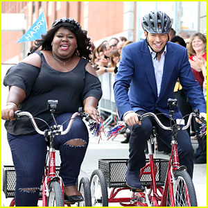 Gabby Sidibe Competes in Tricycle Race with Harry Connick Jr.!