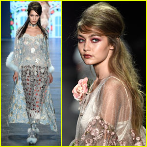 Gigi & Bella Hadid Hit the Runway for Anna Sui's Show During NYFW