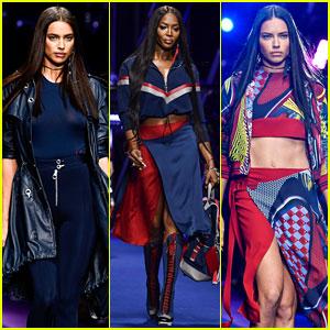 Irina Shayk, Naomi Campbell, & Adriana Lima Walk in Versace's Milan Fashion Show