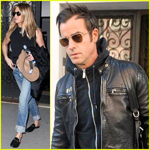 Jennifer Aniston & Justin Theroux Make Early Monday Exit!
