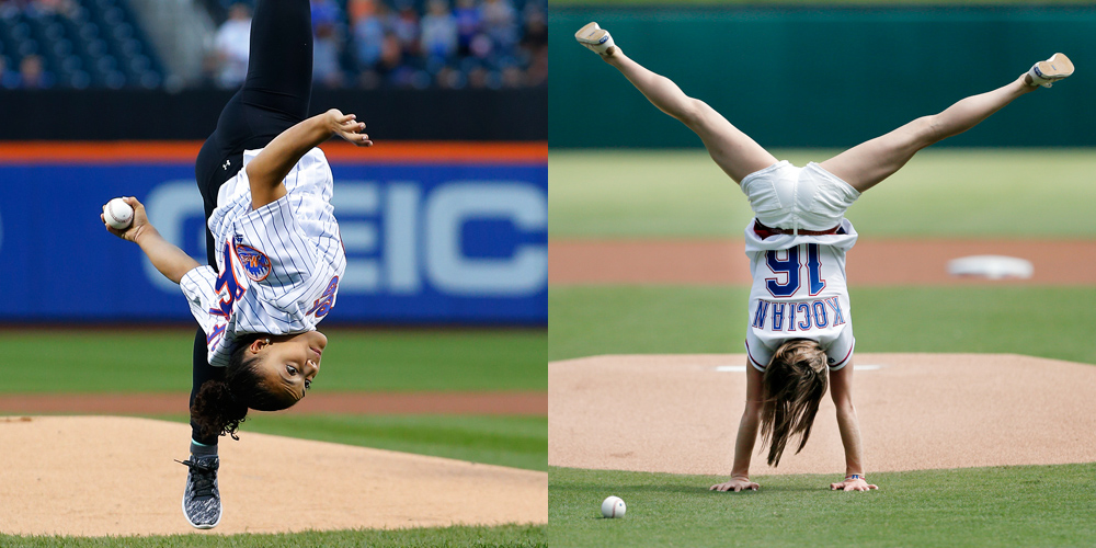 laurie hernandez flips out before throwing first pitch at mets game