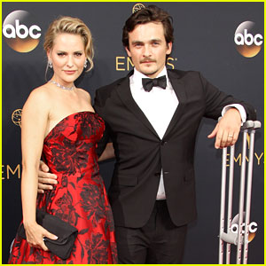 Homeland's Rupert Friend Walks with Crutches at Emmys 2016